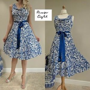 Phase Eight Floral Silk Dress UK12 US8 / 10 Cowl